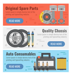 Three banner for auto spare parts vector
