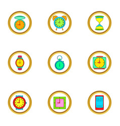 Time and clocks icons set cartoon style vector