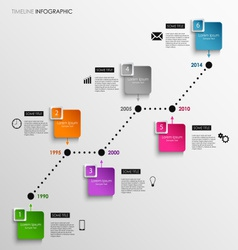 Time line info graphic colored square template vector
