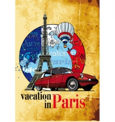 vacation in paris grunge vector image