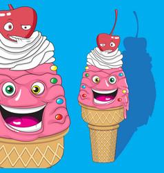 vanilla ice cream character with cherry character vector image