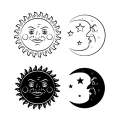 Vintage hand drawn sun and moon vector