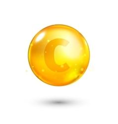 Vitamin C glitter gold icon vector