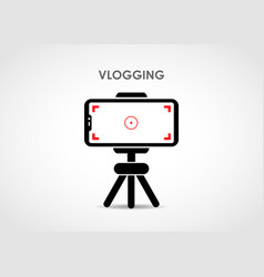 vlogging using mobile and tripod stand vector image