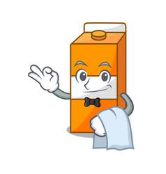 waiter package juice mascot cartoon vector image