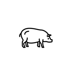 web line icon pig livestock black on white vector image