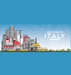 Welcome to italy skyline with gray buildings and vector