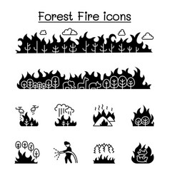 Wildfire forest fire icon set graphic design vector
