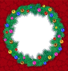Wreath tree branches Christmas balls vector