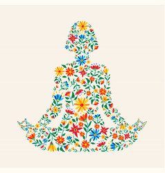 Yoga meditation pose made colorful flowers vector