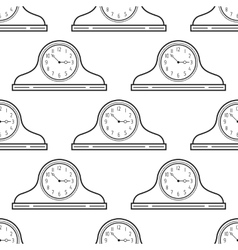 Black and white mantel clock Seamless pattern vector image