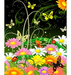 butterfly on flowers vector image vector image