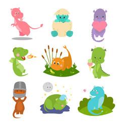 cute kid baby dragon dinosaur fantasy animals vector image