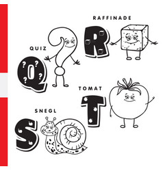 danish alphabet question sugar snail tomato vector image vector image