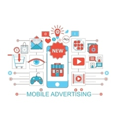 Modern Flat thin Line design Mobile advertising vector image vector image