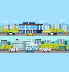 municipal transport horizontal banners vector image