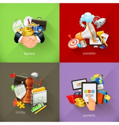Business concepts 3d icons vector image vector image
