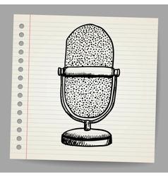 Doodle retro microphone vector image vector image