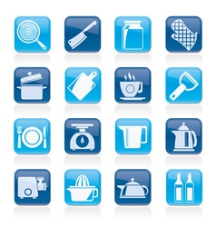 home kitchen equipment icons vector image