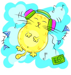 yellow fat cat listening to music on headphones vector image vector image
