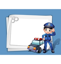 A policeman beside a police car vector image