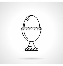 Boiled egg black line icon vector image