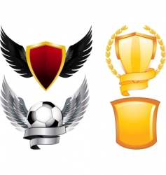 set of 4 shields vector image