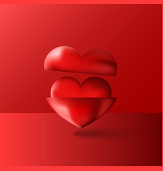 two shiny 3d hearts red purple volume vector image vector image
