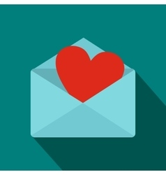 Blue envelope with red heart icon flat style vector image