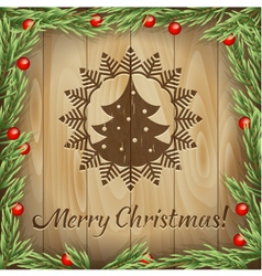 Christmas fir-tree wood background vector image