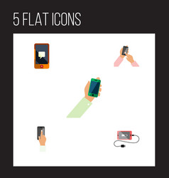 flat icon smartphone set of keep phone vector image vector image