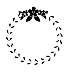 Floral crown wreath emblem decoration pictogram vector
