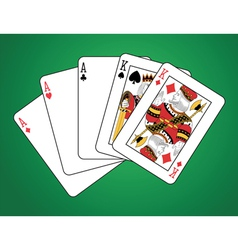 Full house of three aces and two kings vector image vector image