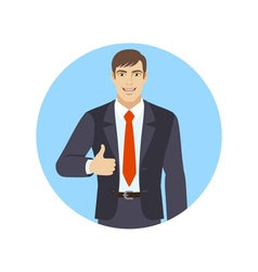 Smiling businessman shows thumb up vector image vector image