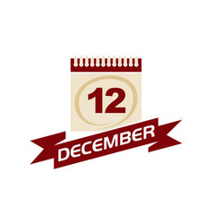 12 december calendar with ribbon vector