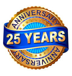 25 years anniversary golden label with ribbon vector image