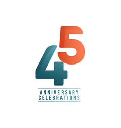 45 years anniversary celebrations template design vector