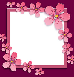 Abstract frame with pink 3d sakura blossom vector