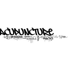 Acupuncture schools online text word cloud concept vector
