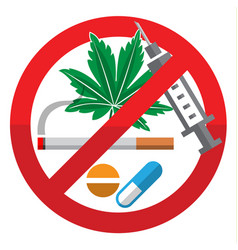 Against drug abuse day flat sign on white vector
