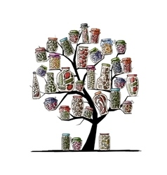 Art tree with pickle jars for your design vector