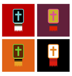assembly flat icons bible book vector image