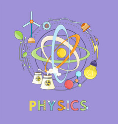 Atom wind and electricity power physics icon vector