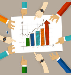 Bar chart increase team work on paper looking to vector