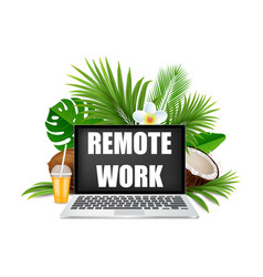 beach remote work concept realistic vector image