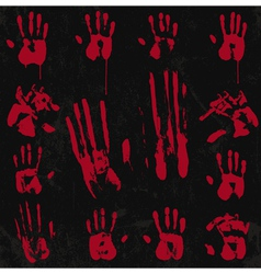 Bloody Hand Print set 02 vector image