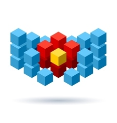Blue cubes logo with red segments vector image