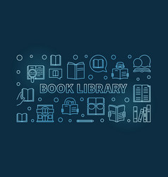 book library blue outline banner or vector image