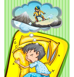 Boy sleeping and dreaming of snowboarding vector image