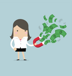 businesswoman attracted banknotes with red magnets vector image